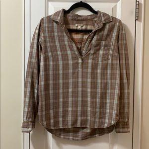 J.Crew brown orange blue white flannel shirt